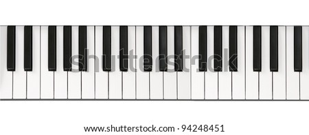 Piano keyboard close-up background - stock photo