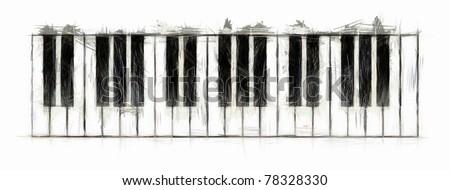Piano Keyboard Drawing - stock photo