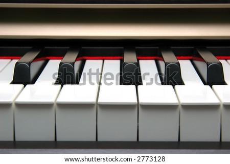 Piano Keyboard frontal - stock photo