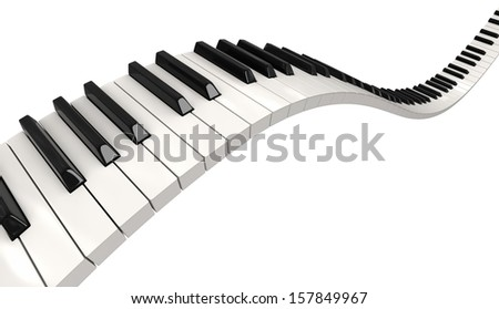Piano keys (clipping path included) - stock photo