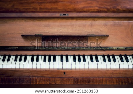 piano keys. close frontal view - stock photo