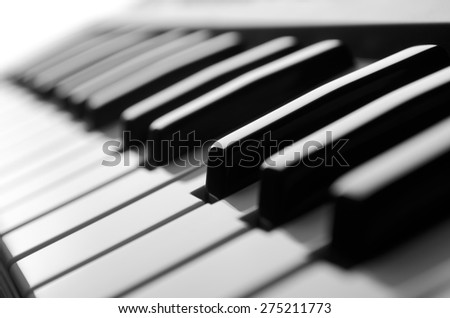 Piano keys close-up view black&white - stock photo