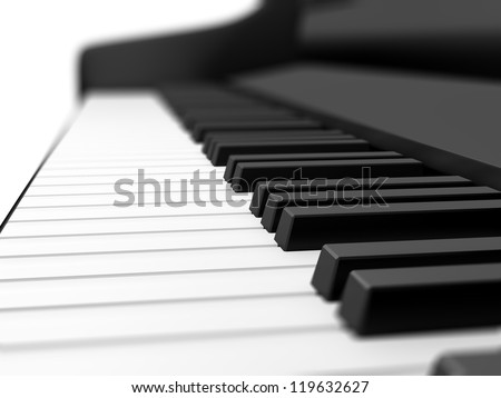 Piano keys on black grand piano with depth of field. - stock photo