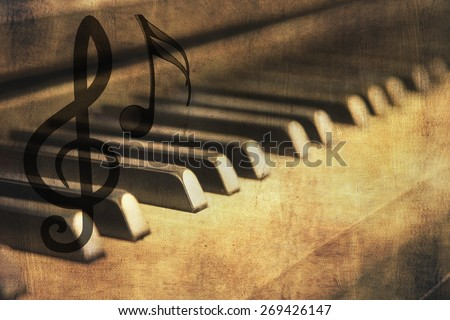 piano keys with a vintage background - stock photo