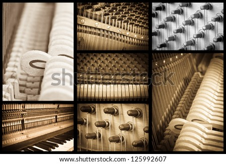 piano music collage - stock photo