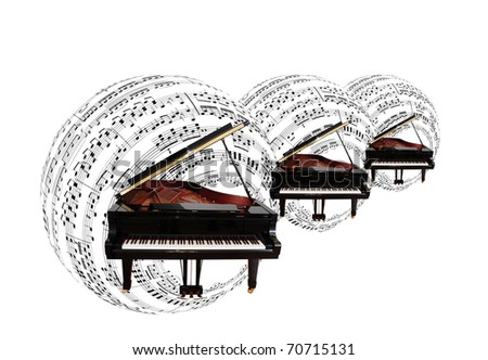 piano & musical notes - stock photo