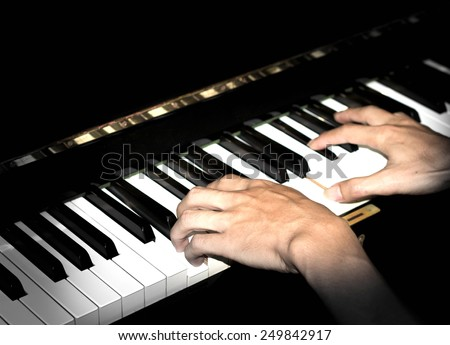 piano playing background - stock photo