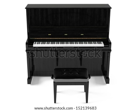 Piano with chair - stock photo