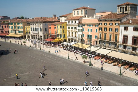 Piazza Bra as seen from the Arena di Verona - stock photo