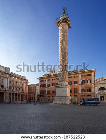 Piazza Colonna (Colonna square) with column of Marcus Aurelius. Rome. Italy. - stock photo