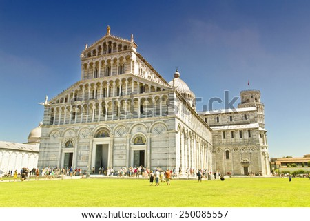 Piazza dei Miracoli complex with the leaning tower of Pisa - stock photo