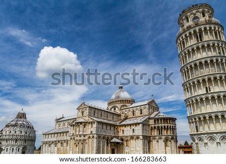 Piazza dei Miracoli complex with the Leaning Tower of Pisa in front of baptistery and Cathedral, Italy - stock photo