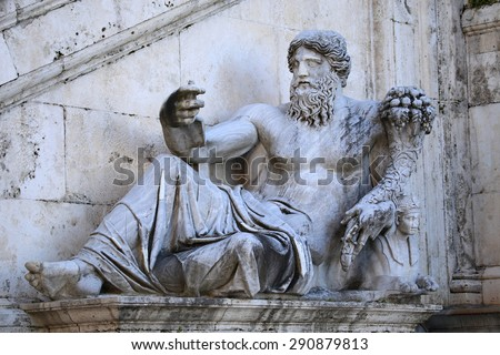 Piazza del Campidoglio - The Nilo Statue dating IV Century in Rome, Italy - stock photo