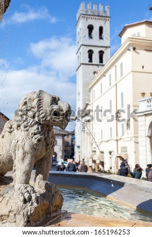 Piazza del Comune, Assisi, Umbria, Italy. Detail of the fountain - stock photo