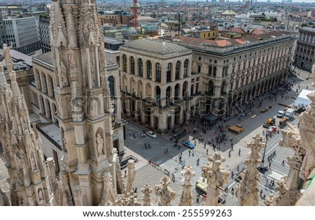 Piazza del Duomo from the roof of Duomo in Milan, Italy - stock photo