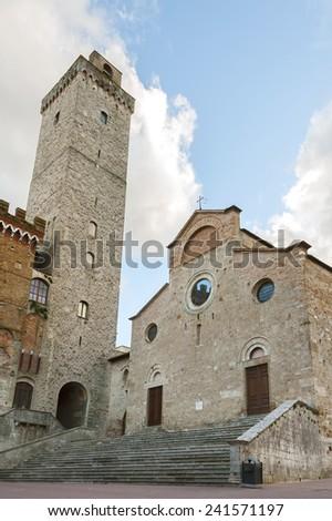 Piazza del Duomo in San Gimignano,Tuscany,Italy - stock photo