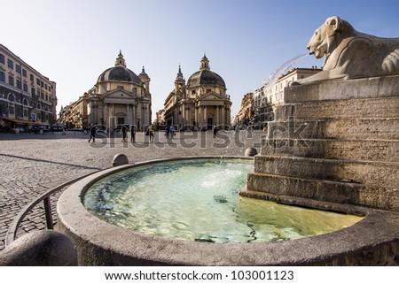 Piazza del Popolo with twin churches in Rome - stock photo