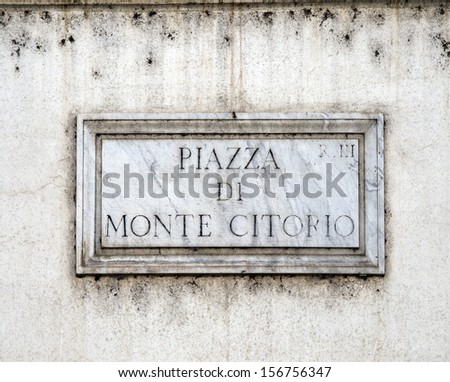 Piazza di Monte Citorio street plate, Rome, Italy  - stock photo