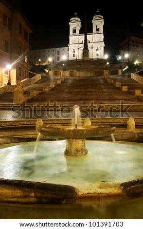Piazza di Spagna of night in Rome, Italy - stock photo