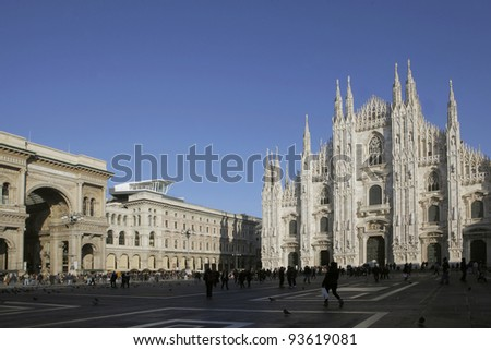Piazza duomo in Milan, Italy - stock photo