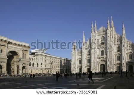 Piazza duomo in Milan, Italy - stock photo