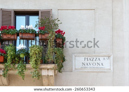 Piazza Navona sign on historic italian building in Rome - stock photo