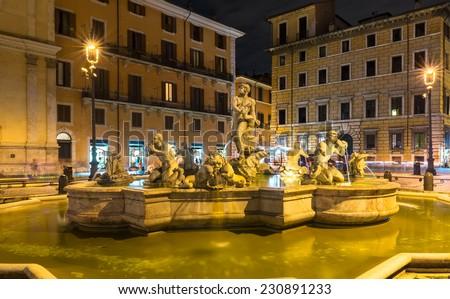 Piazza Navona with Fontana del Moro in Rome, Italy - stock photo