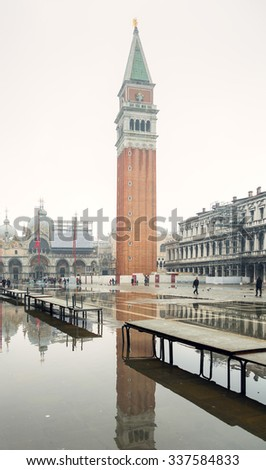 Piazza San Marco at small Acqua Altain the foggy weather - Venice, Italy - stock photo