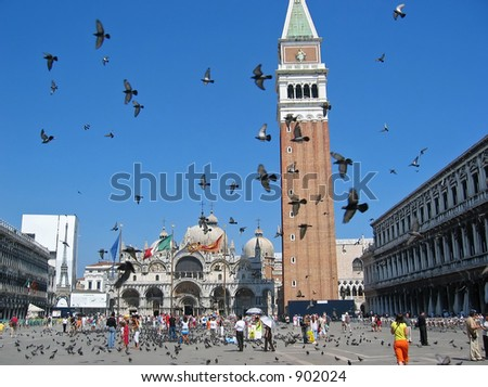 piazza san marco at venice italy - stock photo