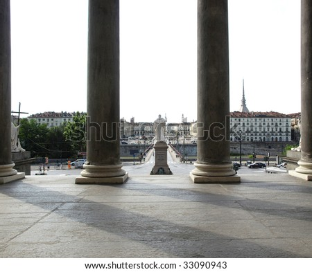 Piazza Vittorio baroque square in Turin, Italy - seen from La Gran Madre church - stock photo
