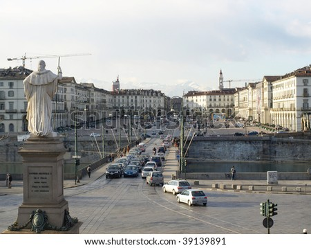 Piazza Vittorio seen from La Gran Madre church in Turin, Italy - stock photo