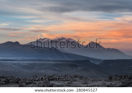 Pichu Pichu Volcano Mountain in a morning time with sunrising, Areuipa, Peru - stock photo
