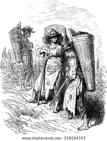 Pickers from Jerez (Sherry), vintage engraved illustration. Le Tour du Monde, Travel Journal, (1865). - stock photo