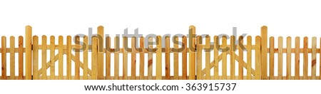 Picket fence, garden fence - cut out - stock photo