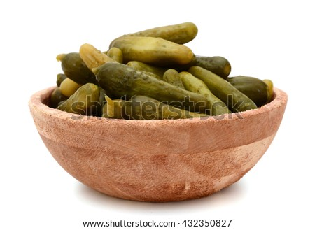 pickle cucumber bowl, on white - stock photo