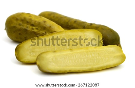 pickled cucumbers on white background  - stock photo