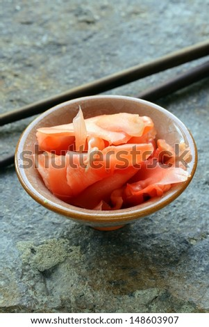 pickled ginger for sushi - Japanese spices - stock photo