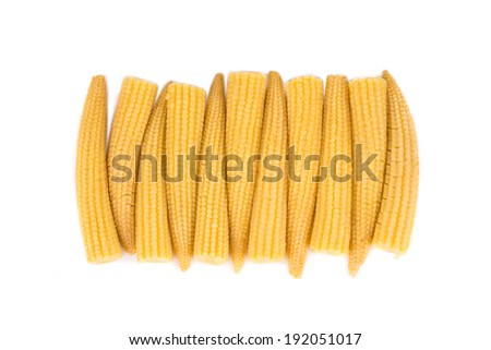 Pickled small corn. Isolated on a white background. - stock photo