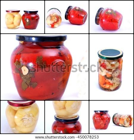 Pickled vegetables ,Canning, Jar, Food concept - stock photo
