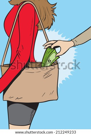 Pickpocket girl - stock photo