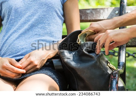 Pickpocket in Action at Park - stock photo