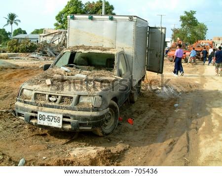 Pickup truck after tsunami in Khao Lak, Thailand - stock photo