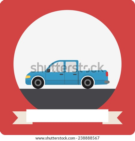 Pickup truck car icon with round frame and ribbon - stock photo