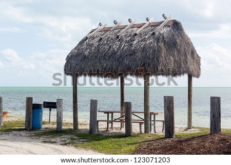 Picnic and rest area by Seven Mile bridge in Florida Keys by Route 1 Overseas Highway - stock photo
