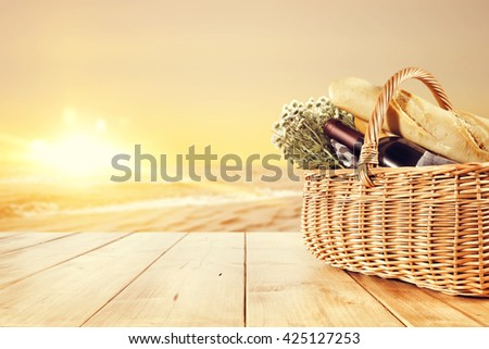 picnic and sea and sunset  - stock photo