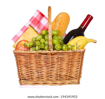Picnic basket with food isolated - stock photo