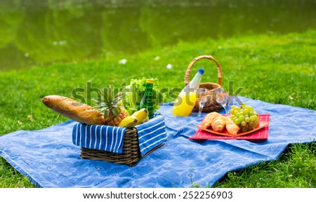 Picnic basket with fruits, bread and bottle of white wine - stock photo