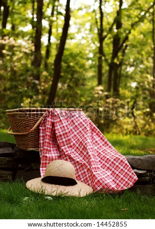 picnic basket with hat - stock photo