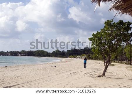 picnic center beach big corn island nicaragua central america - stock photo