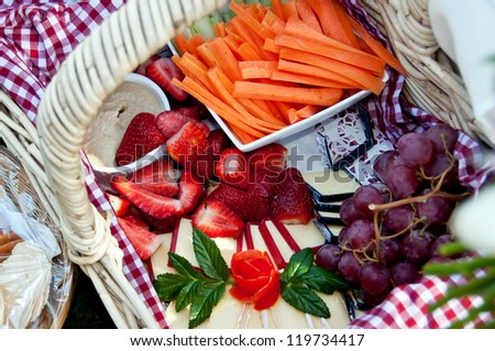 Picnic hamper of food for picnic - stock photo